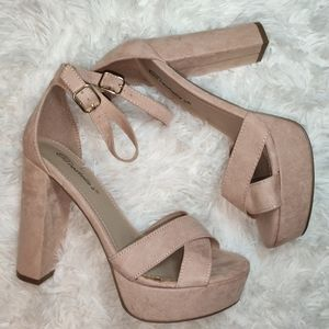 Nude faux suede high Heels Sandals ankle strap